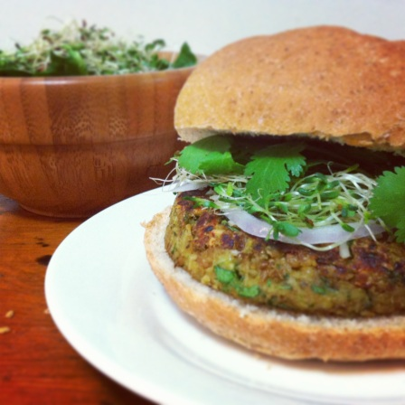 Curried Cashew Lentil Burgers